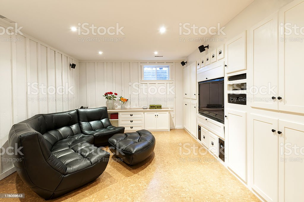 Finished basement in house stock photo