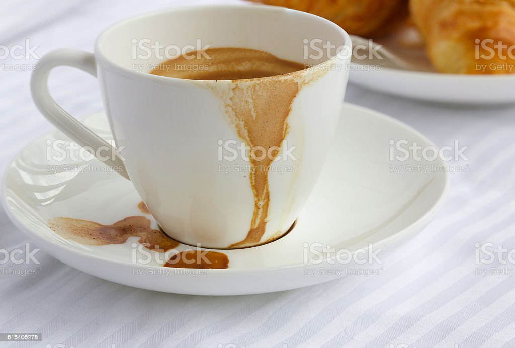 Finished breakfast on a white table cloth. Closeup stock photo