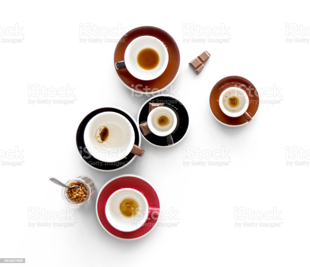 Finished Drank Coffee Cups with Chocolate stock photo