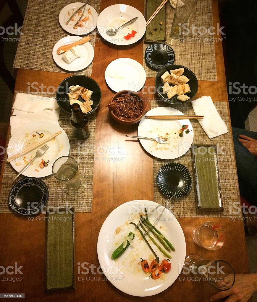 Finished Japanese Meal: Placemats, Chopsticks, Asian Tableware stock photo