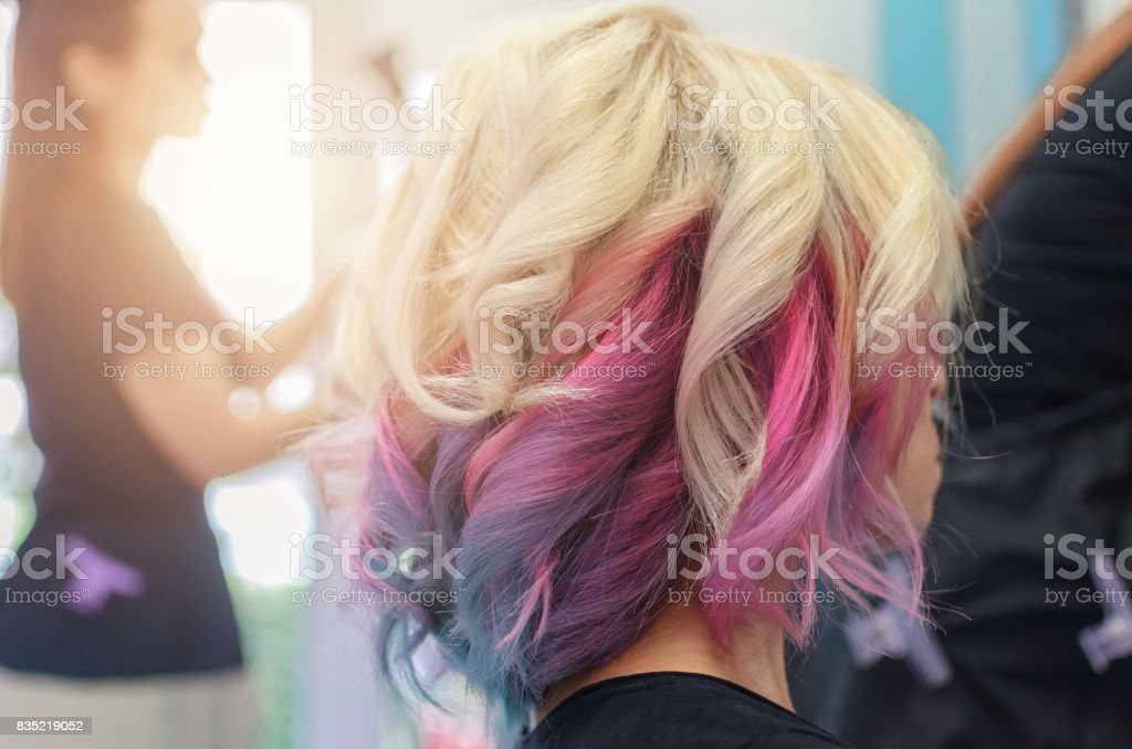 Finished unicorn haircut stock photo