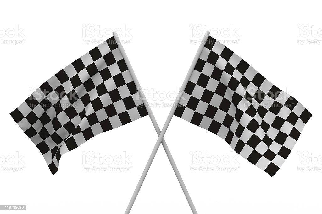 finishing checkered flag on white background. Isolated 3D image royalty-free stock photo