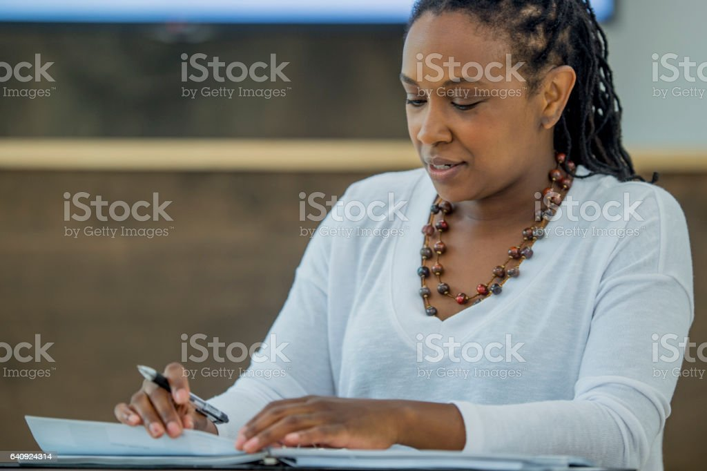 Finishing Paperwork at the Office stock photo