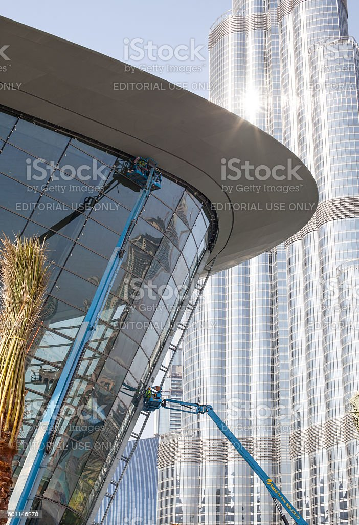Finishing touches on the Dubai Opera stock photo