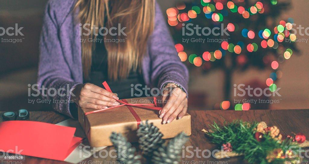 Finishing up Christmas gifts stock photo