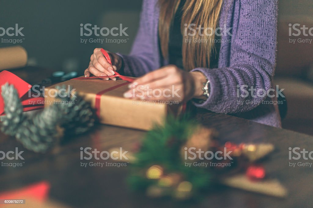 Finishing up Christmas gifts stock photo