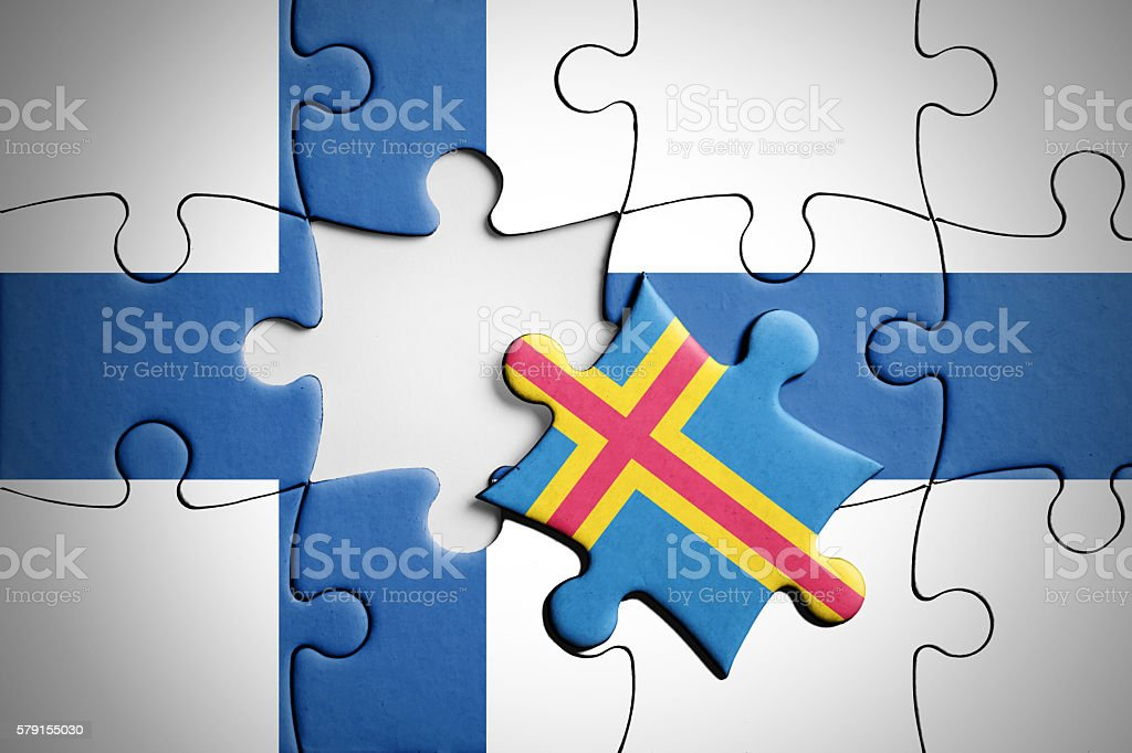Finland and Aland. Separatism concept puzzle. stock photo