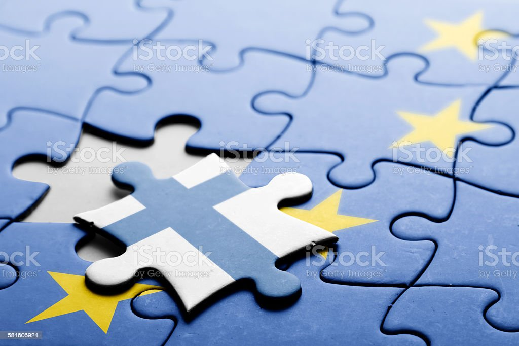 Finland. Exit from European Union concept puzzle stock photo