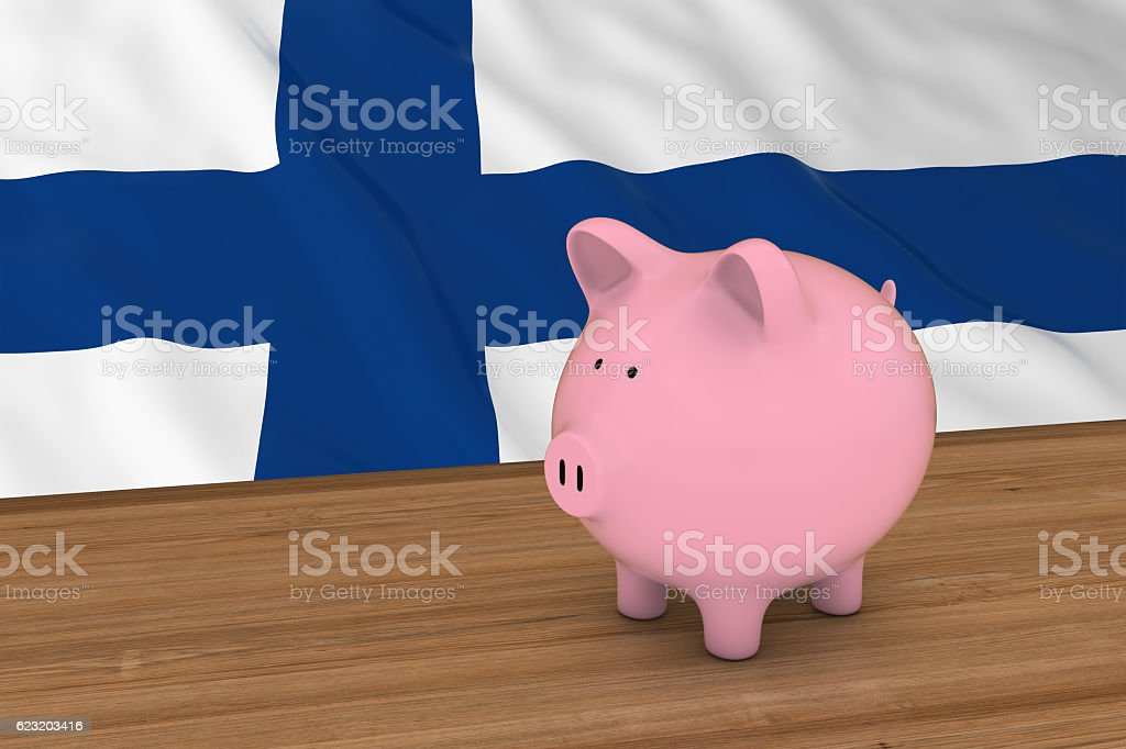 Finland Finance Concept - Piggybank in front of Finnish Flag vector art illustration
