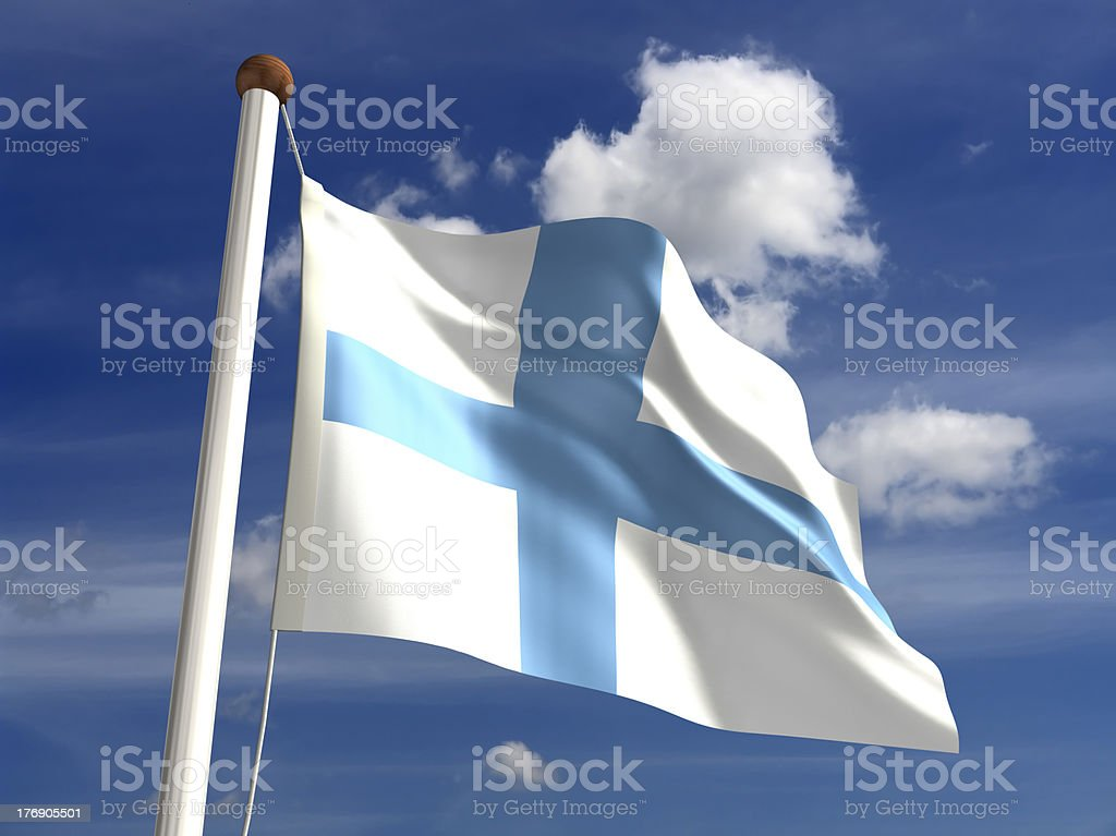 Finland flag (with clipping path) royalty-free stock photo