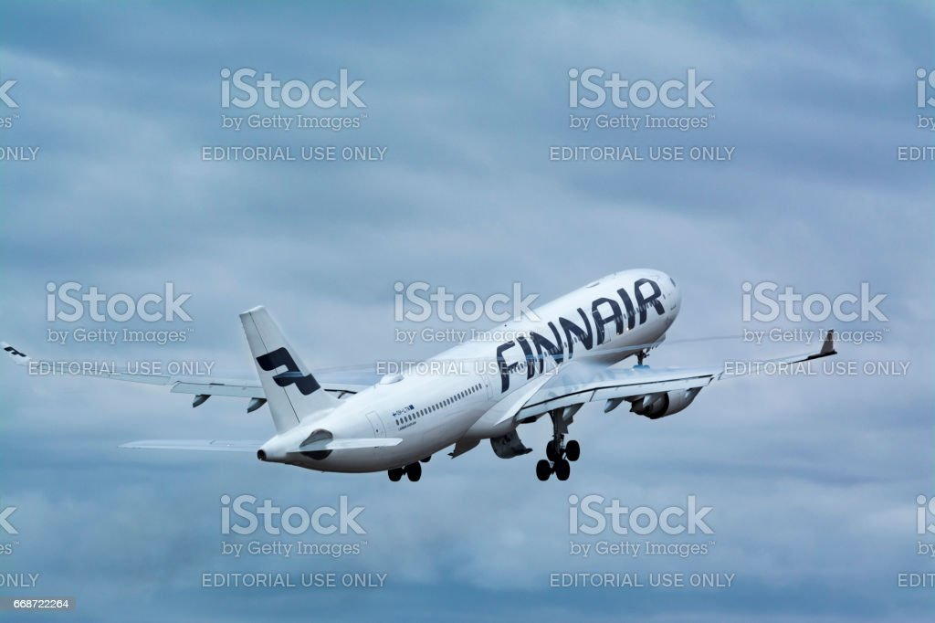 Finland, Helsinki-Vantaa Airport, March 11, 2017 Finnair Airlines Airbus A330 taking off stock photo