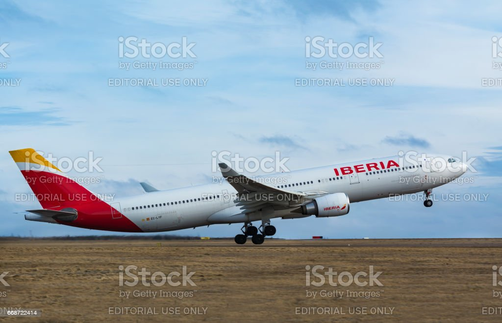 Finland, Helsinki-Vantaa Airport, March 11, 2017 Iberian Airlines Airbus A330 taking off stock photo