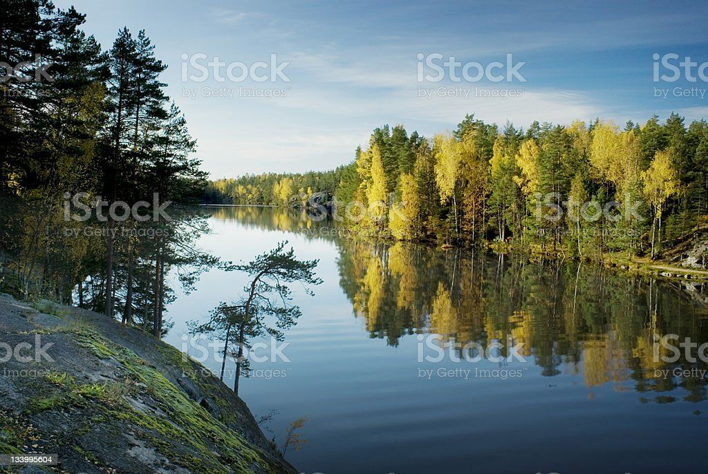 Finland lake autumn stock photo
