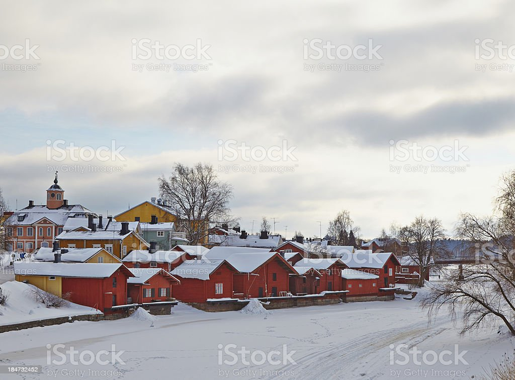 Finland. Old Porvoo in winter. royalty-free stock photo