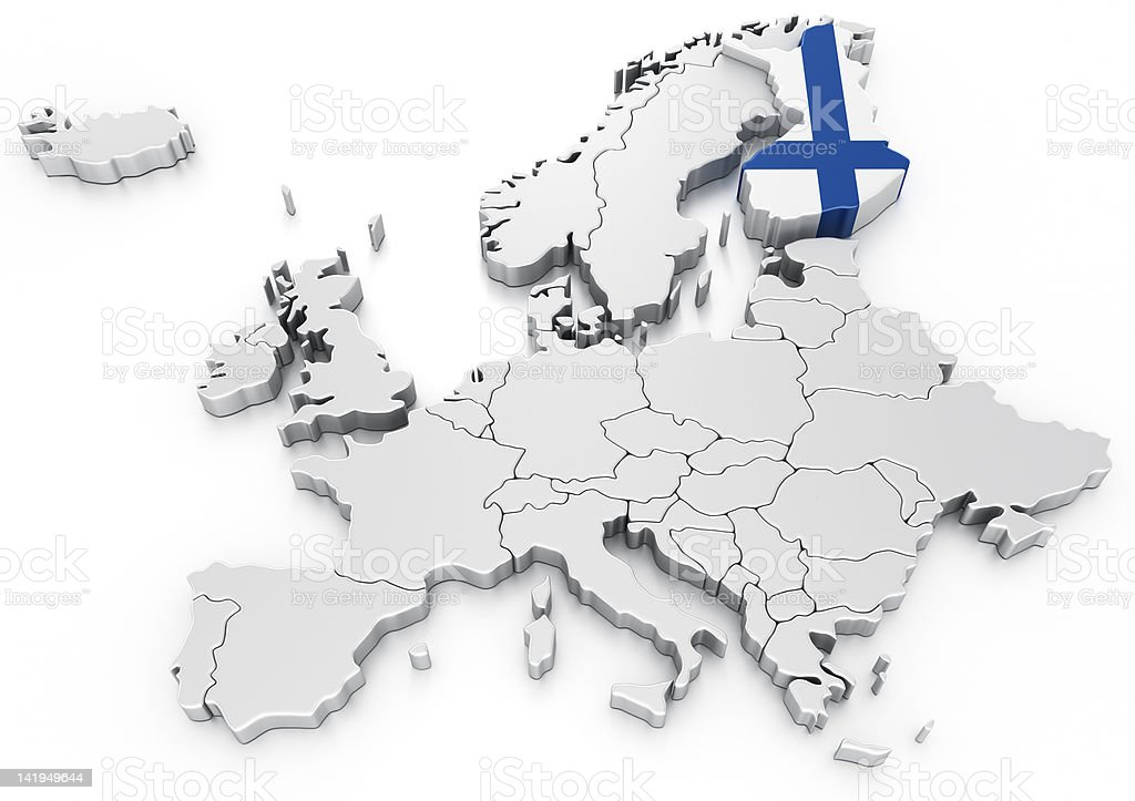 Finland on a Euro map royalty-free stock photo