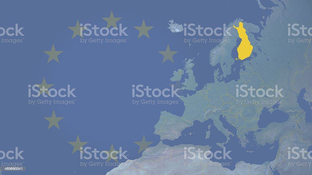 Finland part of European union since 1995 16:9 with borders royalty-free stock photo