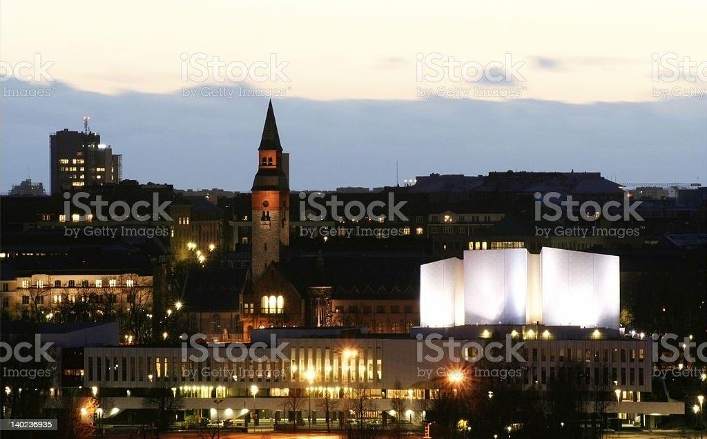 Finlandia hall at night stock photo