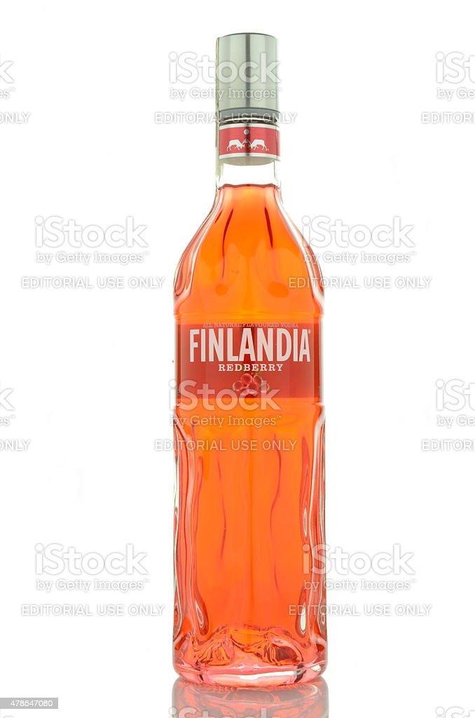 Finlandia redberry vodka isolated on white stock photo
