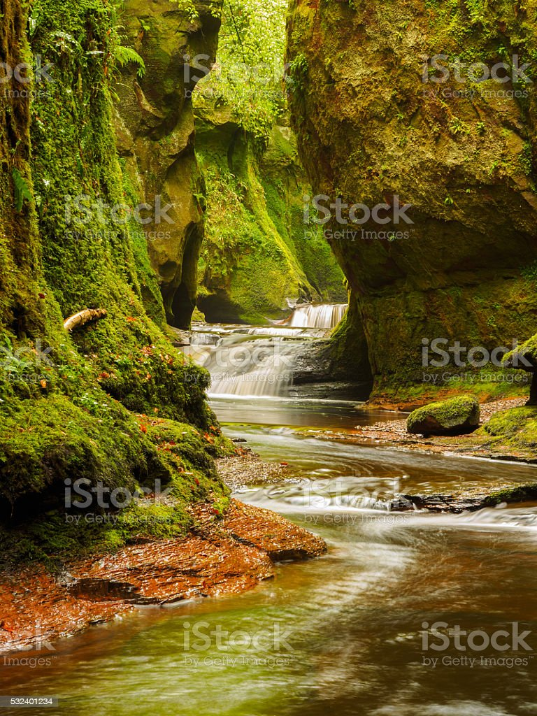 Finnich Glen, near Killearn, Scotland. stock photo