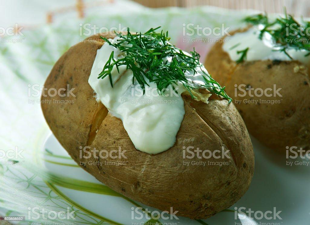 Finnish baked potatoes stock photo