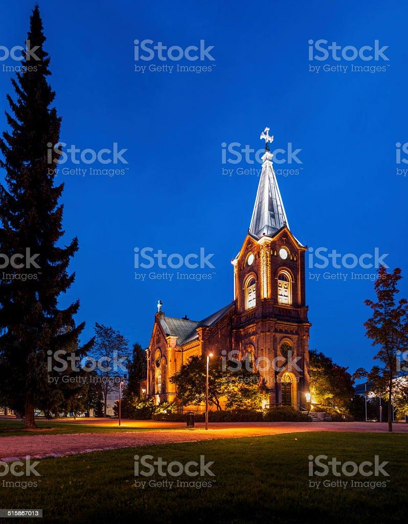 Finnish Church at Night royalty-free stock photo