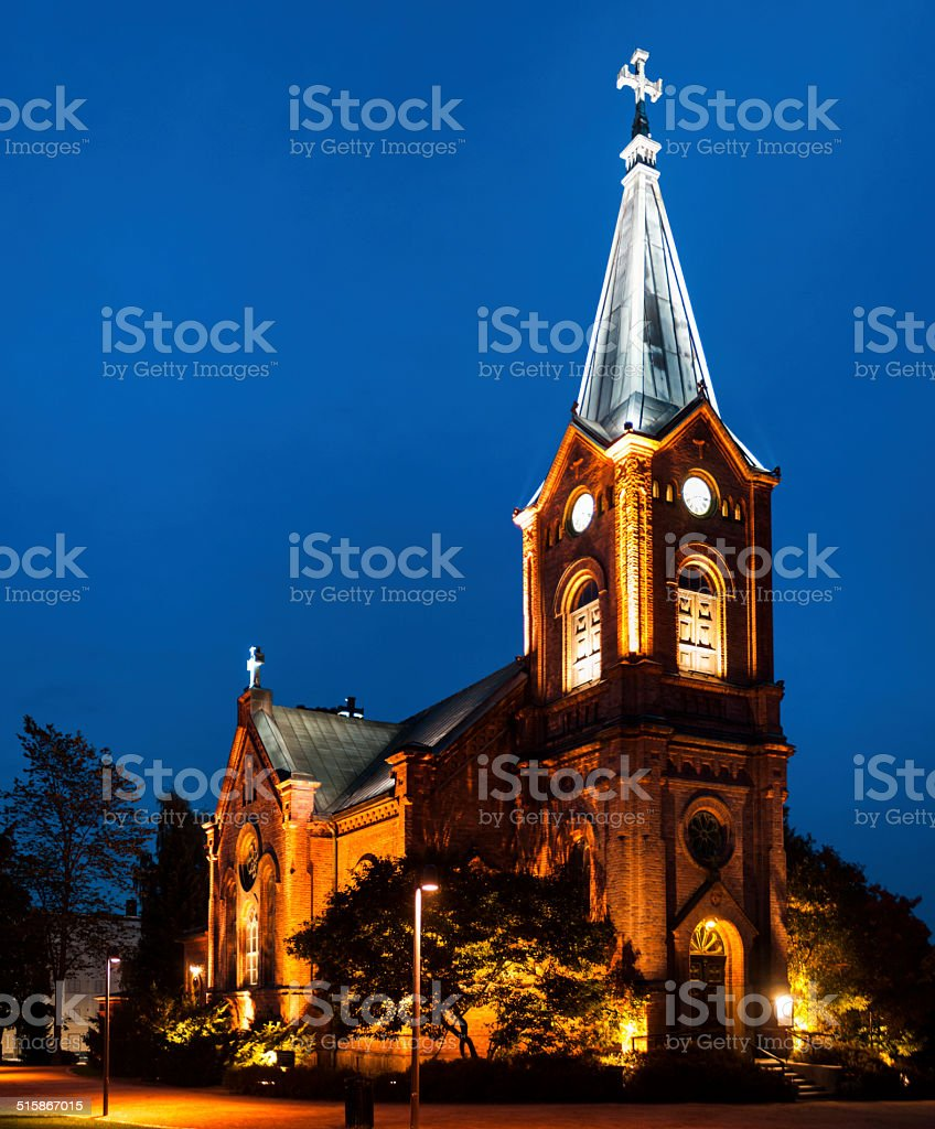 Finnish Church at Night royalty-free stock photo