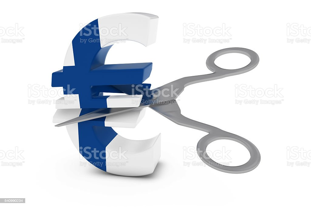 Finnish Flag Euro Symbol Cut in Half with Scissors stock photo