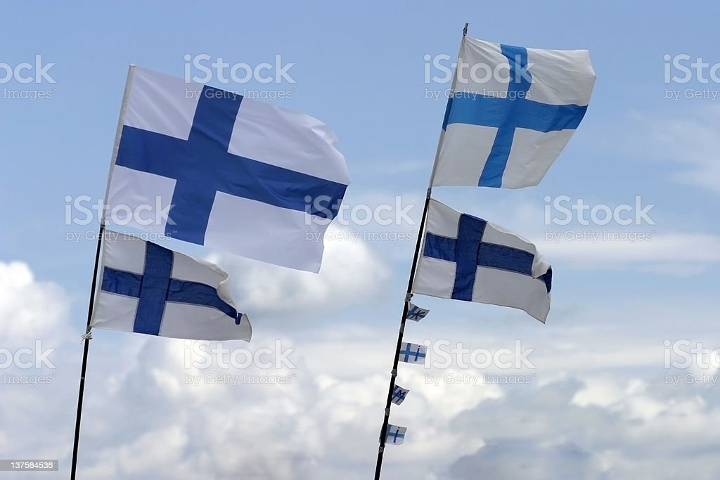 Finnish Flags, Small vs. Large royalty-free stock photo