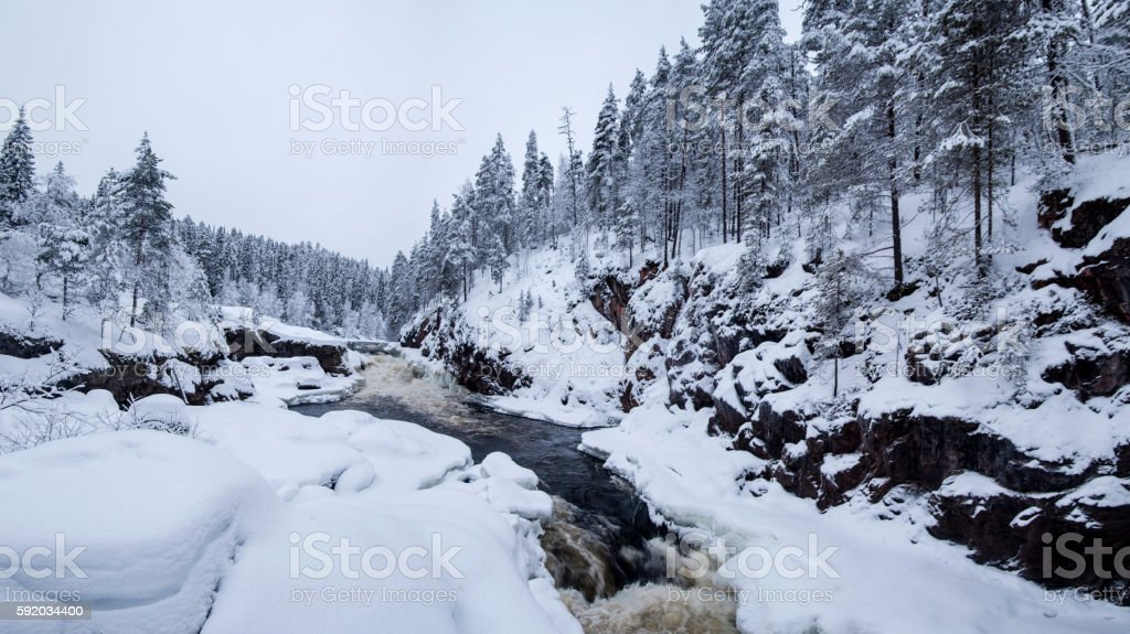 Finnish National Park Winter forest and wild river stock photo