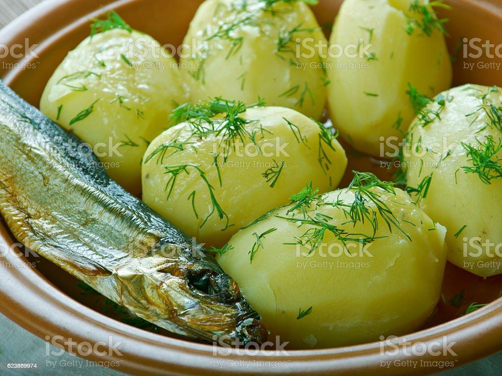 Finnish new potatoes stock photo