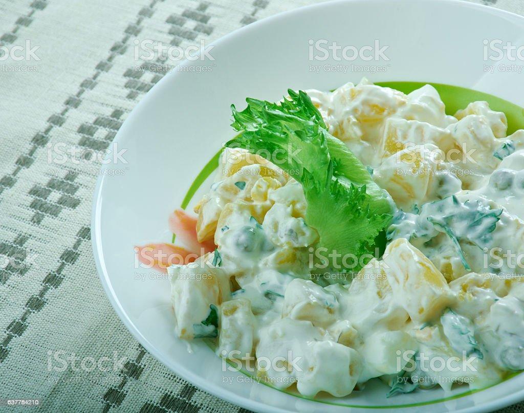 Finnish salad with potatoes stock photo