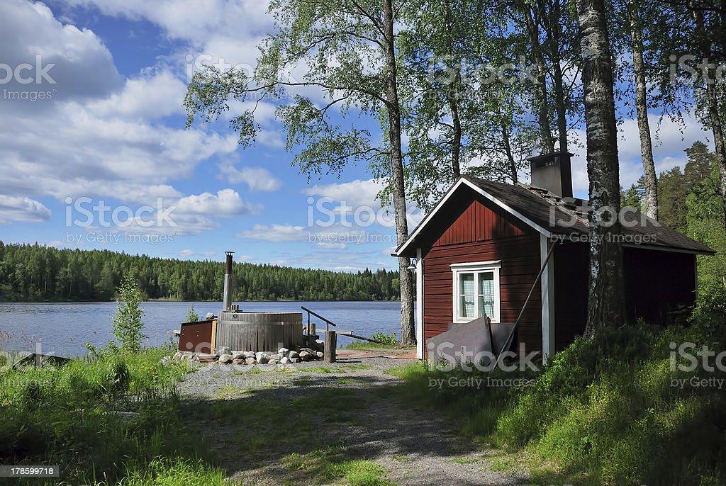 finnish sauna and hot tub stock photo