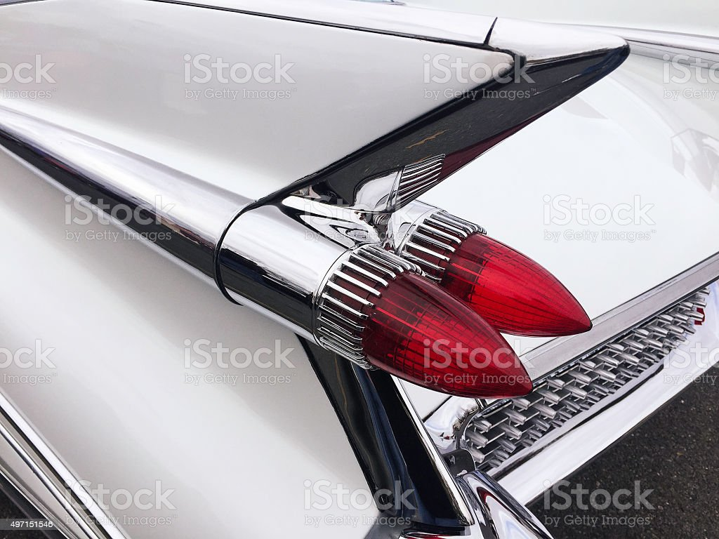 Fins and Tail Lights of a Classic Car stock photo