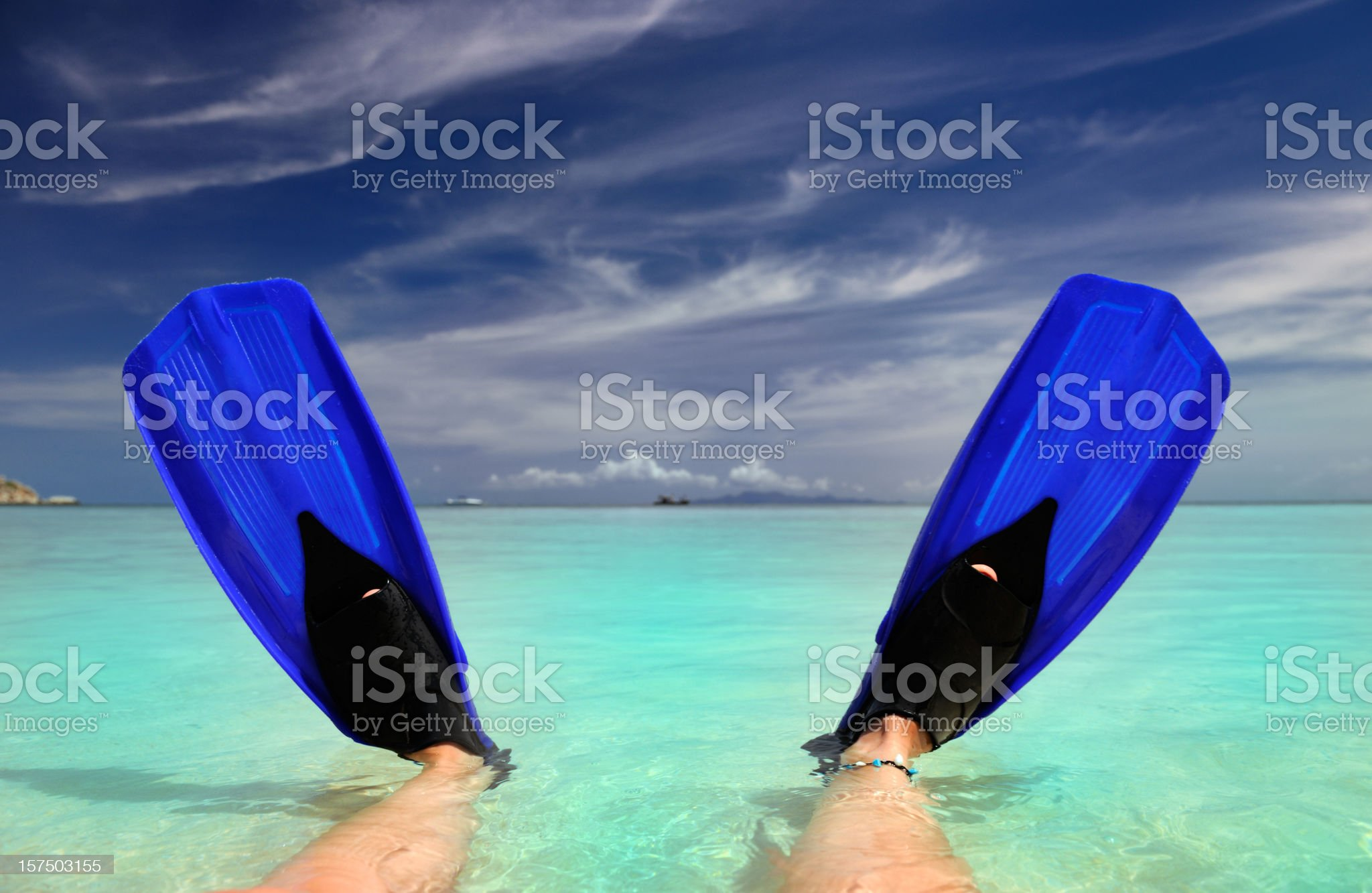 Fins infront of a tropical Paradise Beach (XXXL) royalty-free stock photo