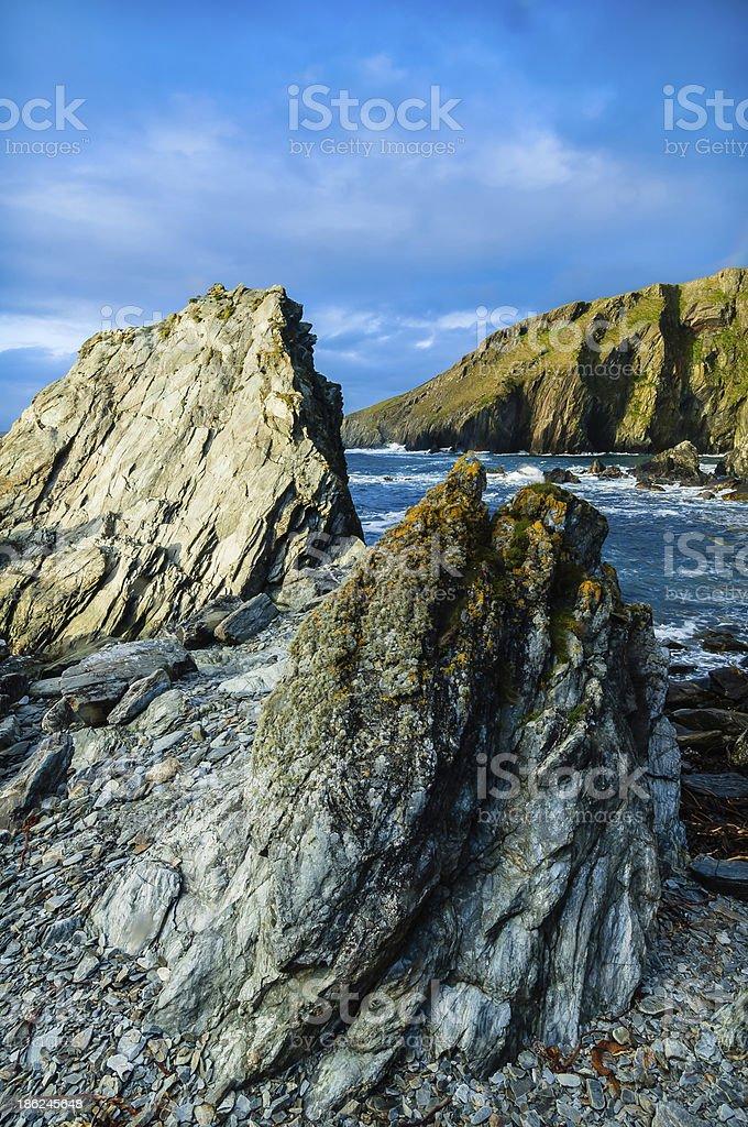 Fins of slate rock rugged coastline  Maywick Shetland Scotland royalty-free stock photo