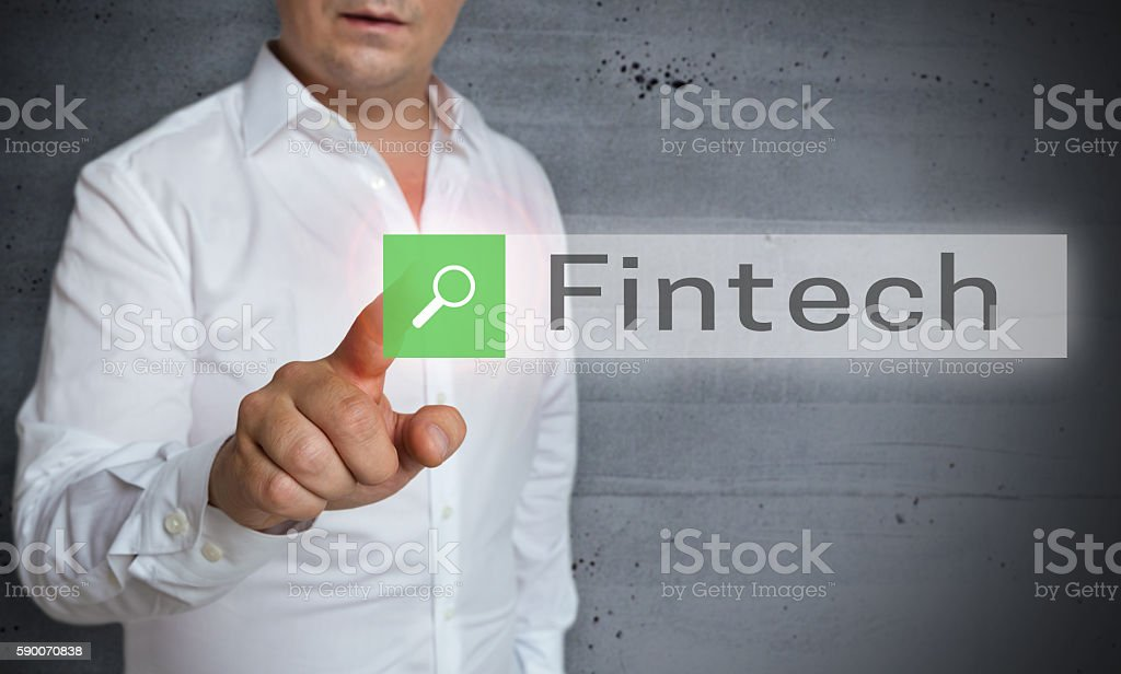 FinTech browser is operated by man concept stock photo