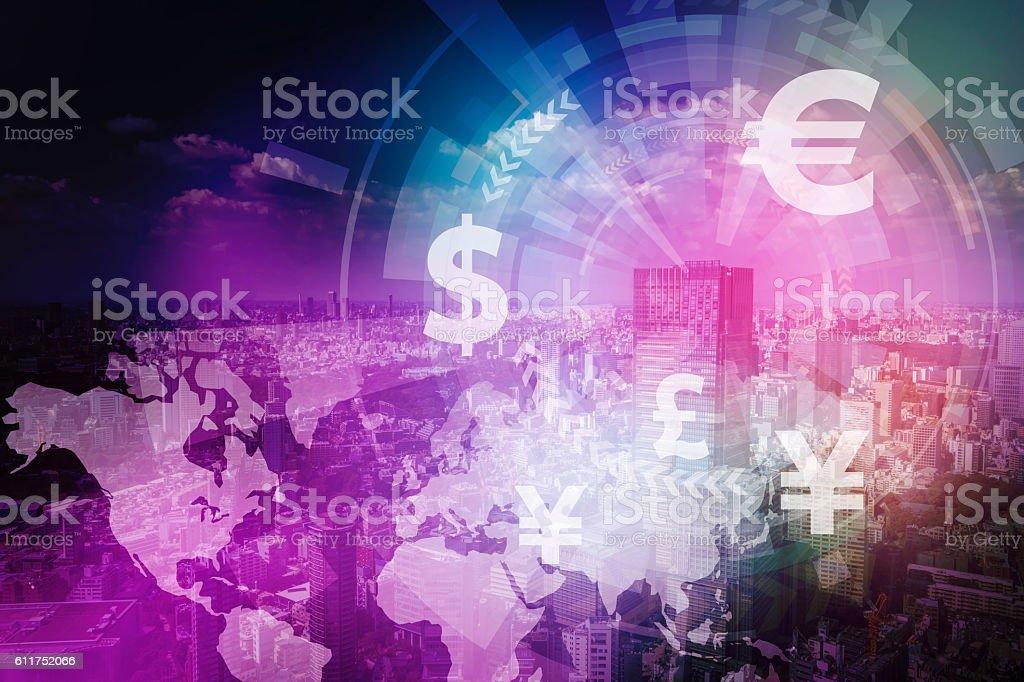 fintech, financial technology and cityscape stock photo