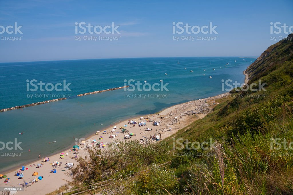 Fiorenzuola beach in Pesaro stock photo