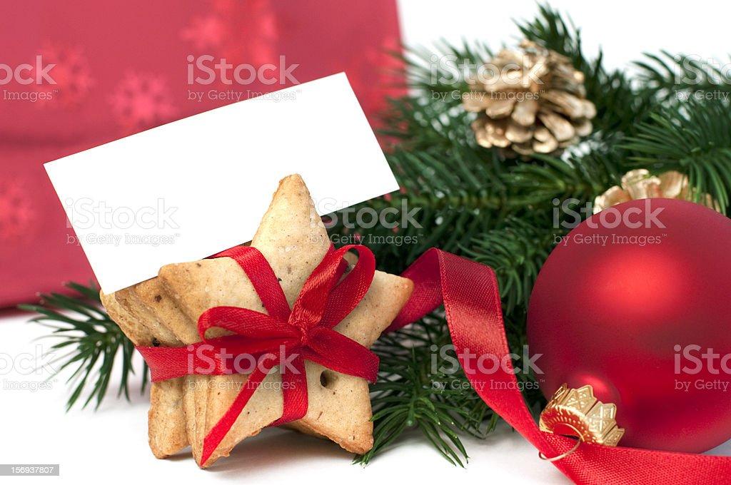 Branche de sapin de Noël et des cookies photo libre de droits