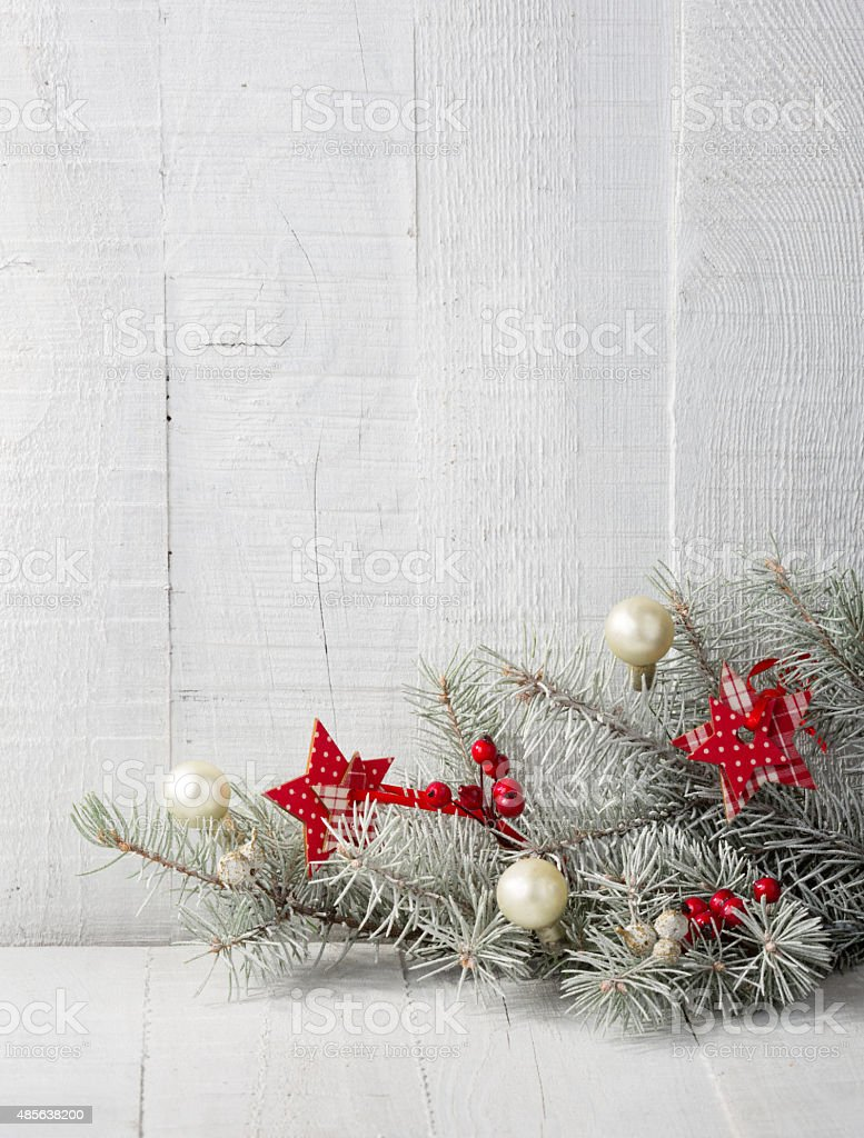 Fir branch with  Christmas decorations stock photo