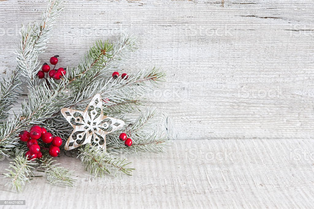 Fir branch with Christmas decorations. stock photo