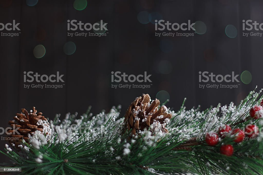 Fir branch with pine cones, Christmas toys stock photo