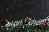 Fir branch with pine cones, Christmas toys