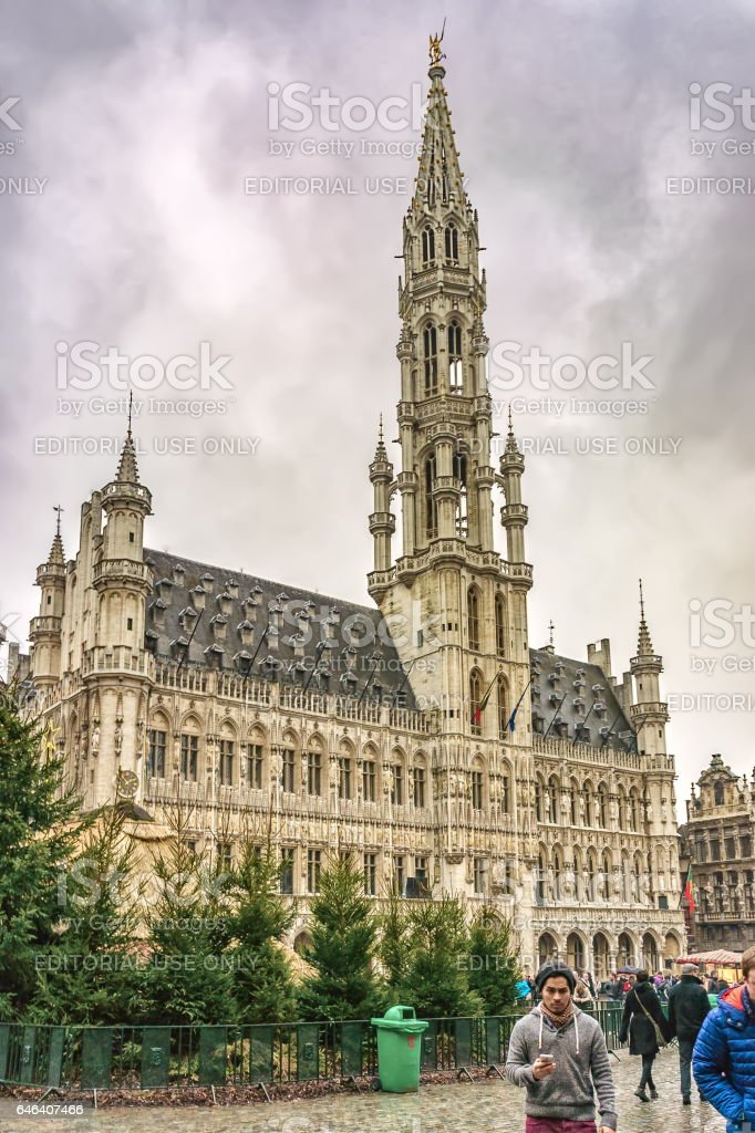 Fir trees and unidentified tourists near Brussels City Hall (Stadhuis van Brussel), Brussels, Belgium stock photo