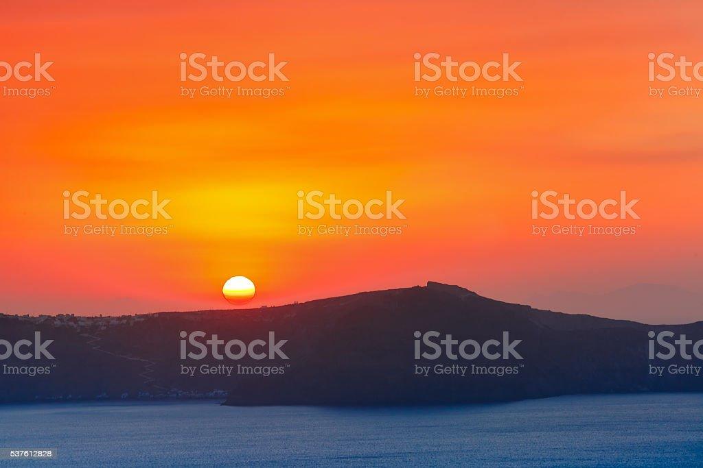 Fira at sunset, Santorini, Greece stock photo