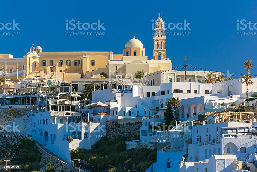 Fira, main town of Santorini in morning, Greece stock photo