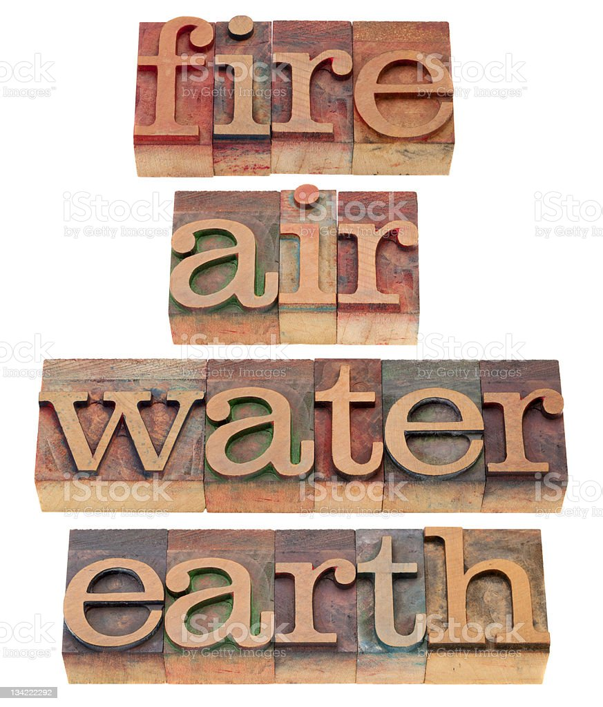 fire, air, water and earth stock photo