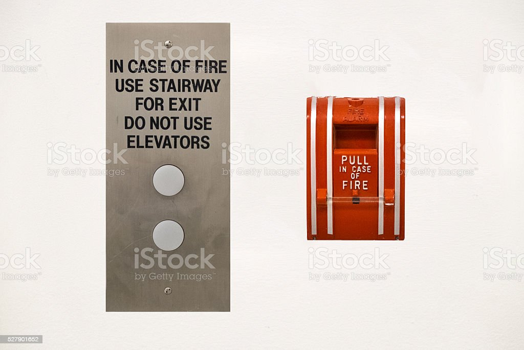 Fire Alarm and Elevator Buttons stock photo