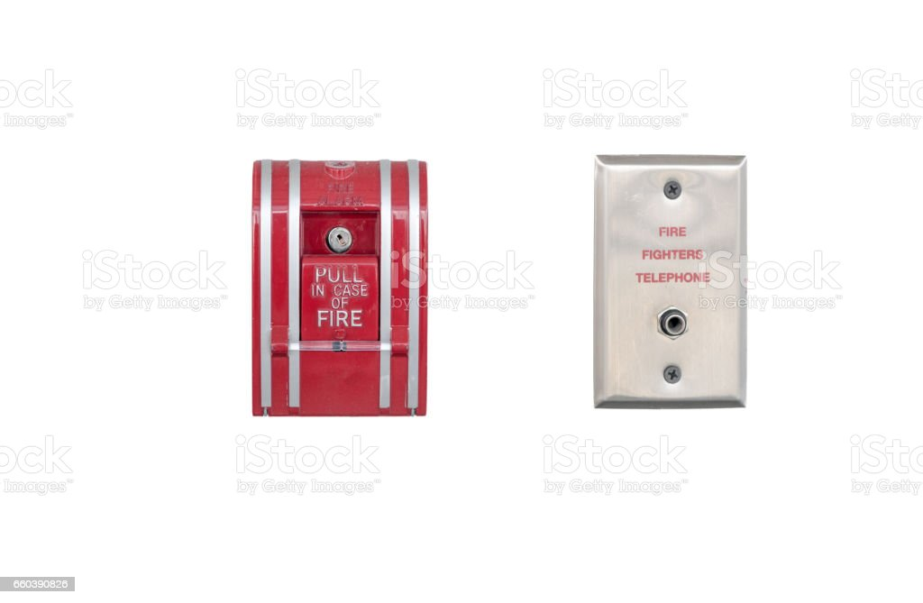 fire alarm and fire fighters telephone isolated stock photo