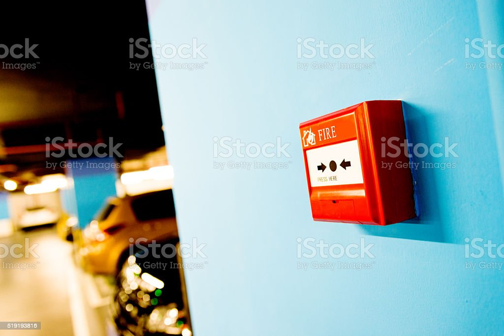 Fire alarm button stock photo